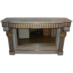 19th Century French Paint and Gilt Console with Marble Top