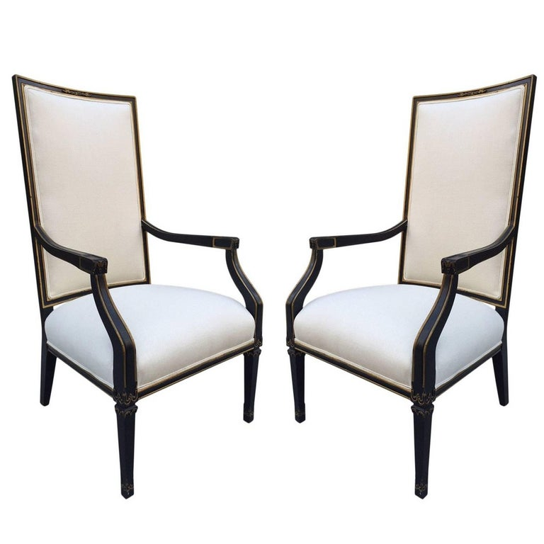 pair french black and gold trim side chairs for sale at 1stdibs. Black Bedroom Furniture Sets. Home Design Ideas