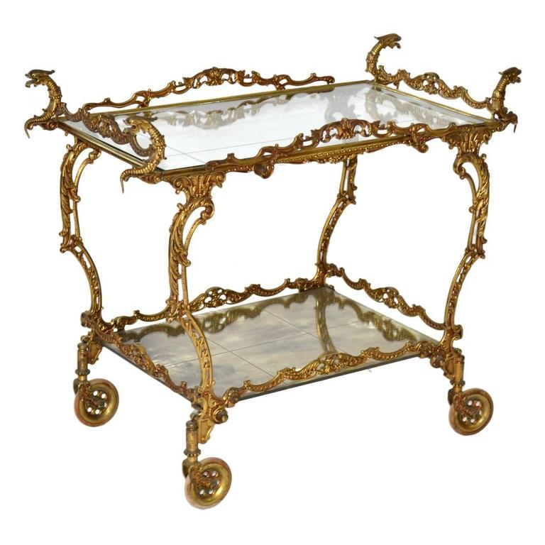 Baroque Style Brass Tea Cart At 1stdibs