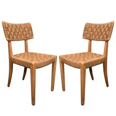 Pair of Raffia Woven Oak Chairs