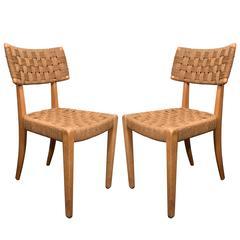 Pair of Raffia Woven Oak Chairs