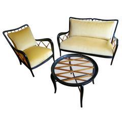 Italian Sofa, Armchair and Coffee Table Attributed to Paolo Buffa