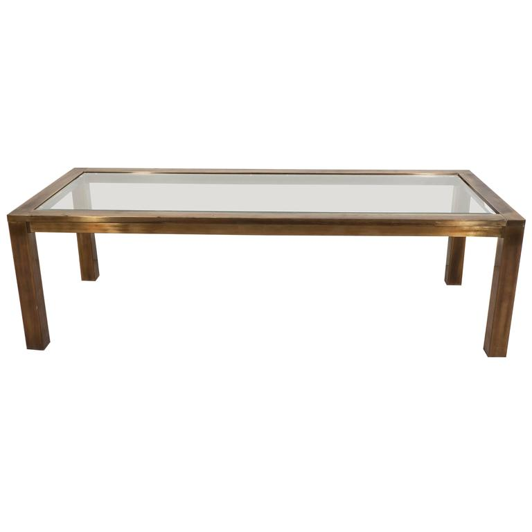 Mastercraft Coffee Table In Brass With Glass Top For Sale At 1stdibs