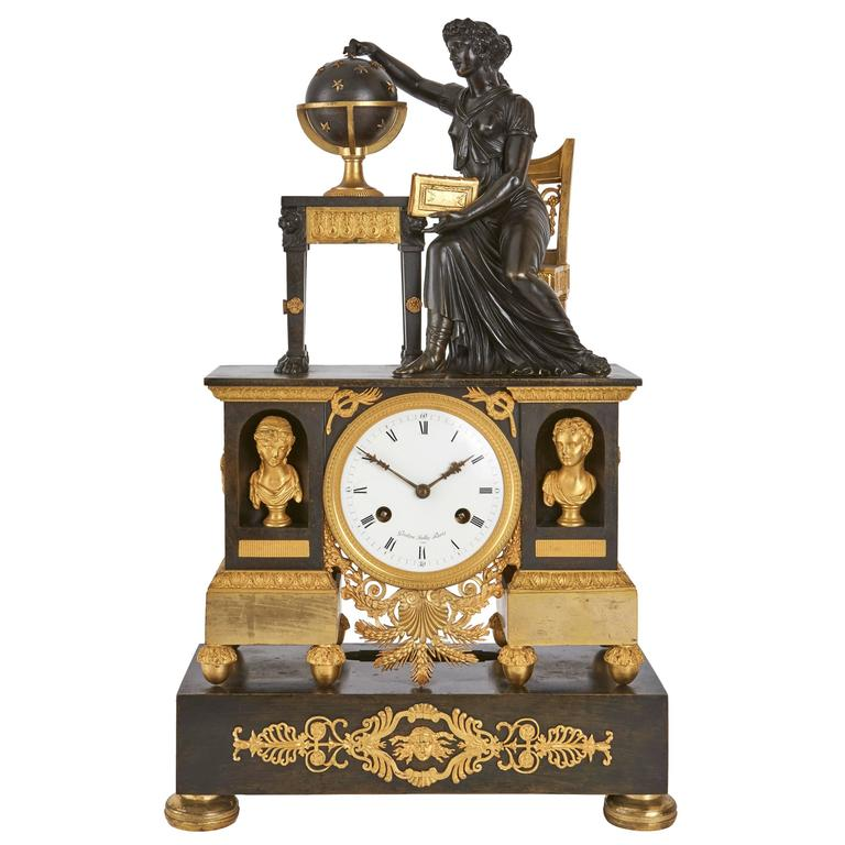 Gilt and Patinated Bronze Empire Period Mantel Clock by Gaston Jolly