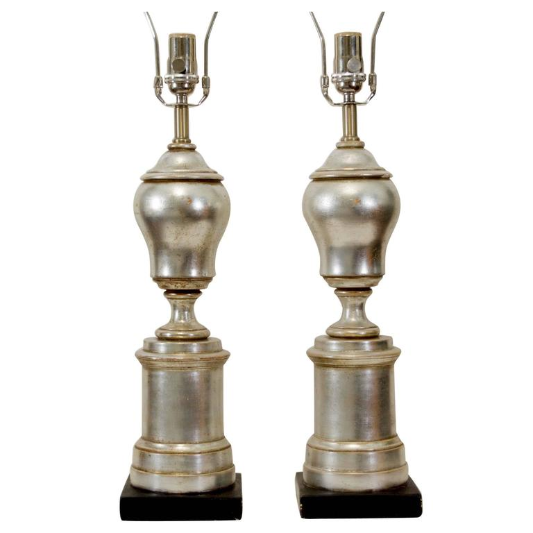 Excellent Pair of Silver Leafed Baluster Form Lamps