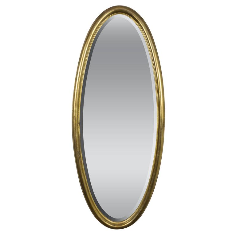 French 1940s Oval Giltwood Mirror