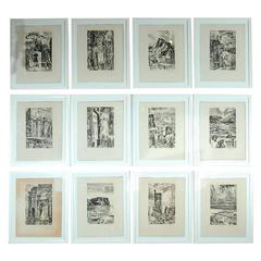 Rare Set of 12 Framed Provence Etchings by Albert Decaris