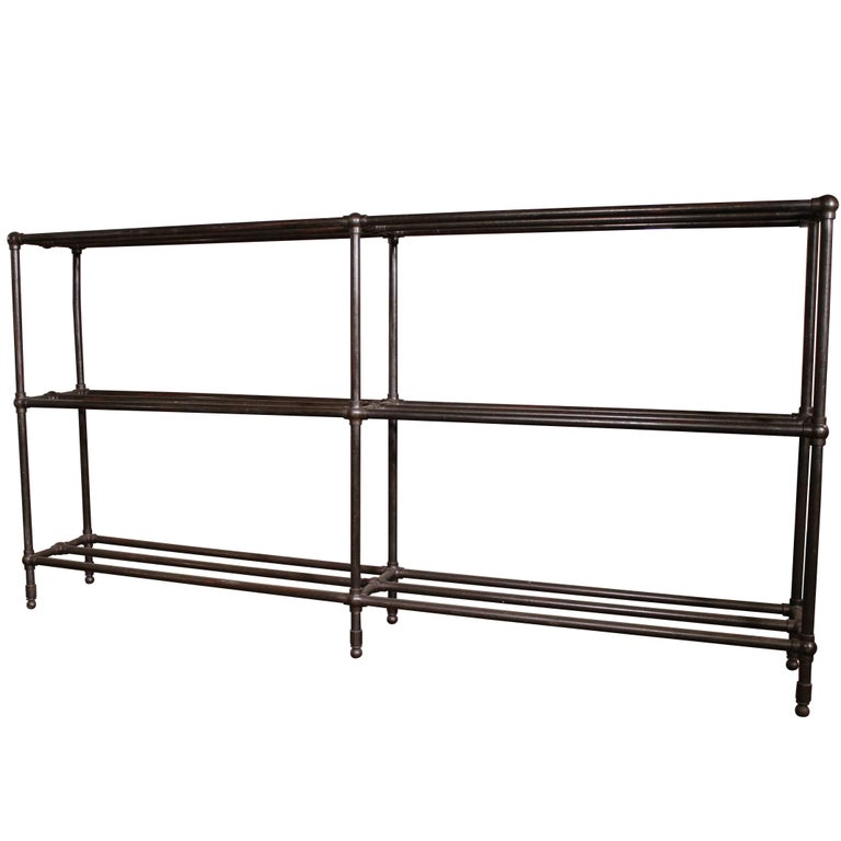Vintage Industrial Ball Joint Pipe Shelving Storage Unit Rack Bookcase For Sale