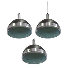Three Italian MId-Century Modern Pendants by Stilnovo with Glass by Max Ingrand