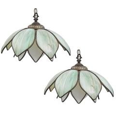 Pair of Midcentury Brass and Glass Hanging Flower Lotus Flower Light
