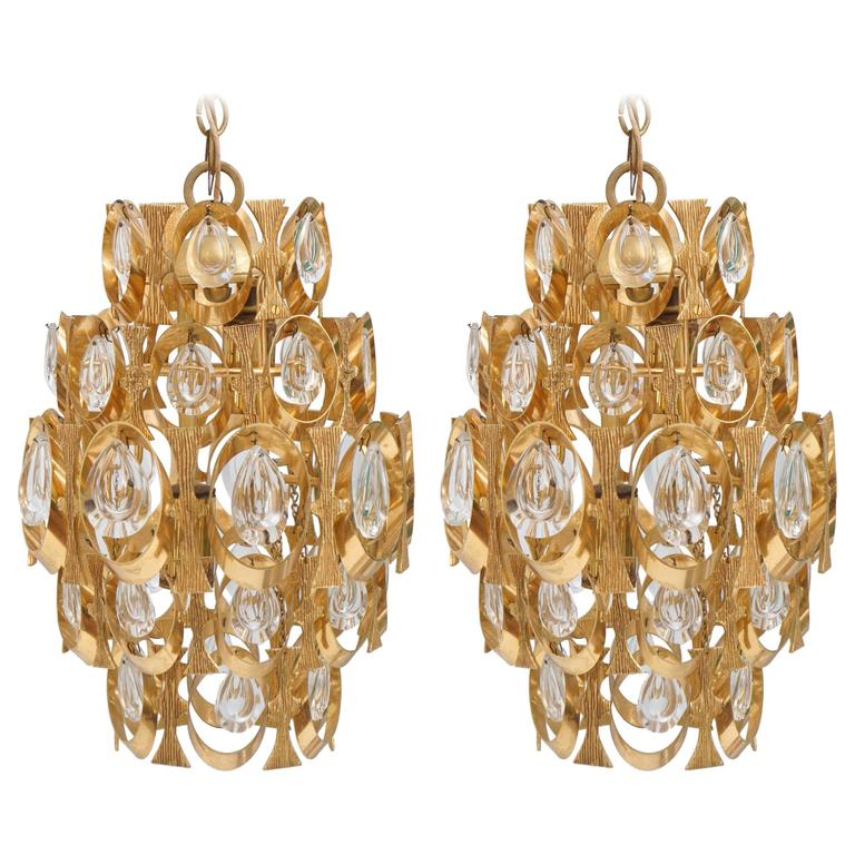 A pair of Sciolari Gold Plated Hanging Prism Light, Chandelier or Pendant