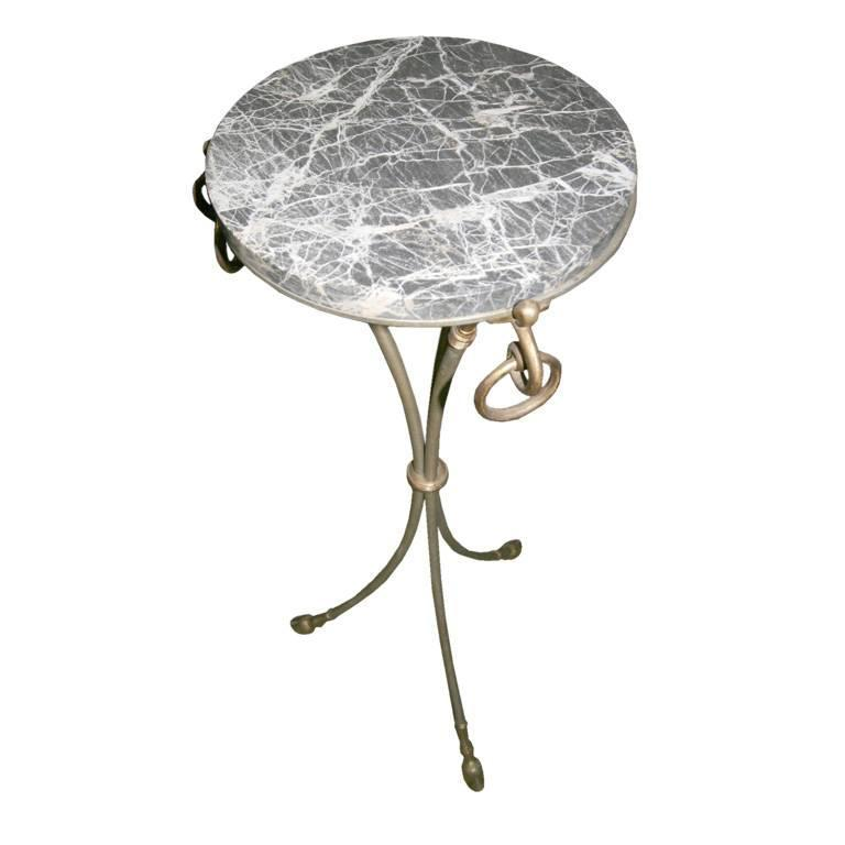 Stylish Marble and Brass French Gueridon