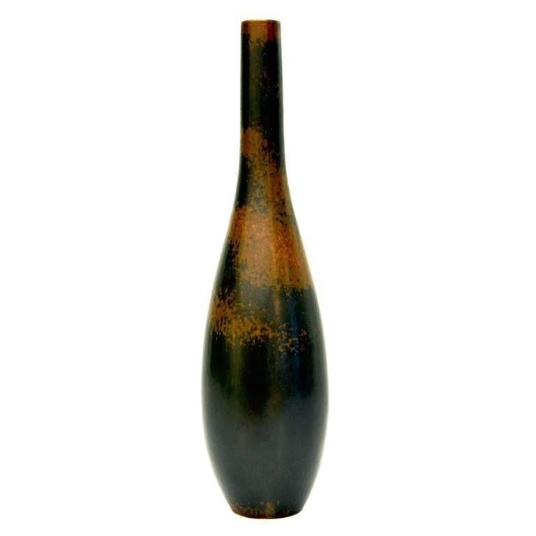Rare Brown Dappled Vase by Carl Harry Stalhane for Rörstrand