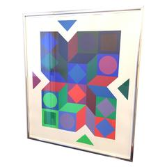 Signed Victor Vasarely Color Screenprint