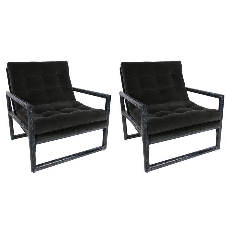 Pair of Ebonized Cerused Oak Scoop Chairs by Milo Baughman
