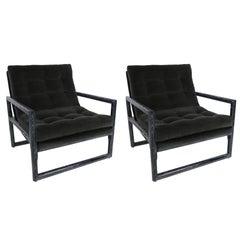 Pair of Ebonized Cerused Oak Scoop Chairs