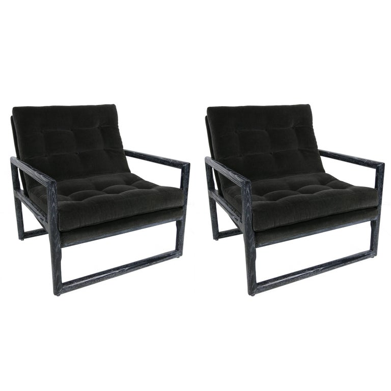 Pair of Ebonized Cerused Oak Scoop Chairs  For Sale