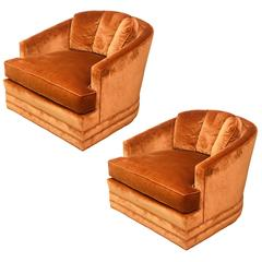Drexel Heritage Swivel Club Barrel Chairs--1960s USA