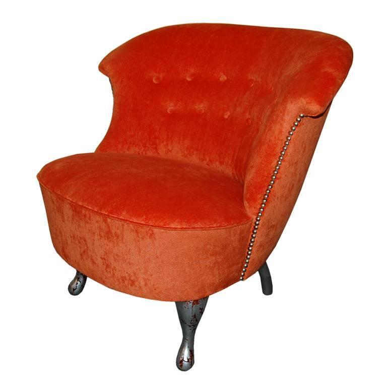 vintage swedish slipper chair in orange bamboo velvet 1