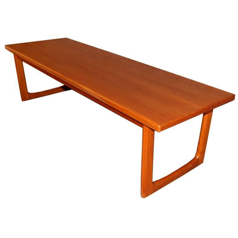 Swedish mid century modern teak coffee table or bench for for Modern coffee table sale