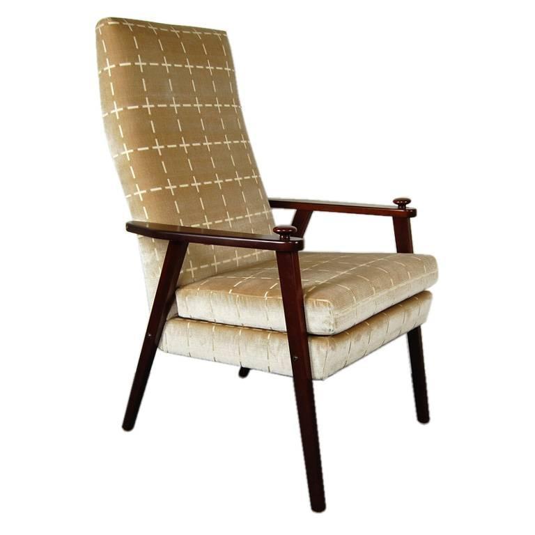 Swedish Mid-Century Modern Velvet Lounge Armchair