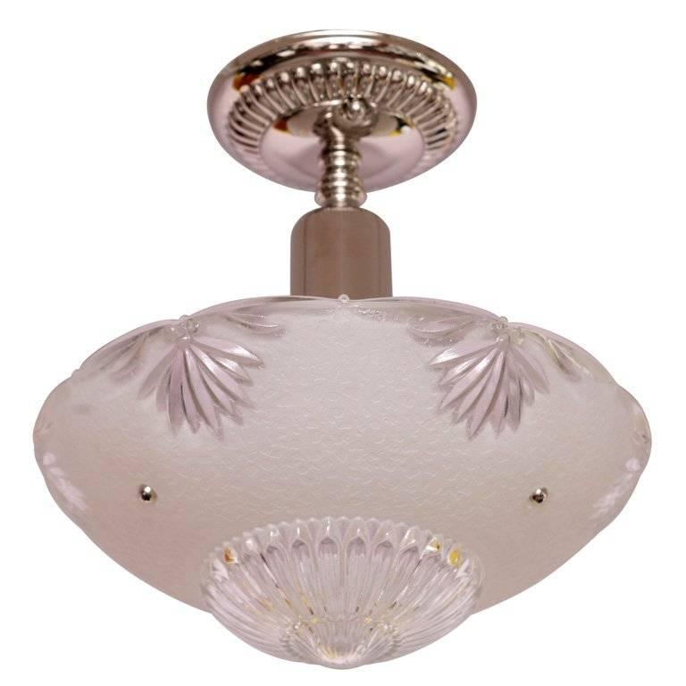 Deco Small Chandelier White Clear Cutchrystal Vintage, Restored 1