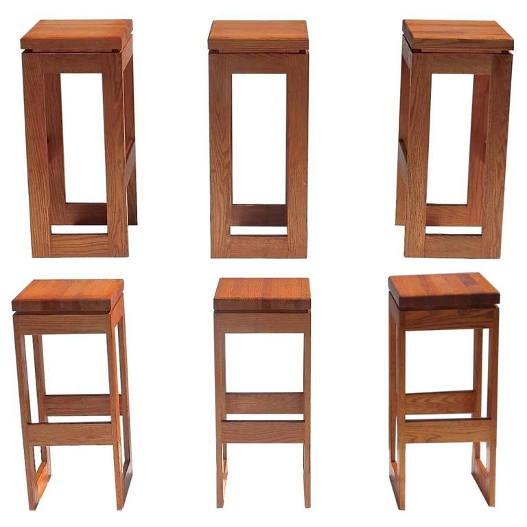 Set Of 6 Butcher Block Block Bar Stools For Sale At 1stdibs