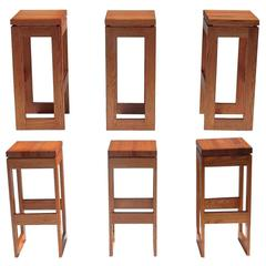 Set of 6 Butcher Block Block Bar Stools