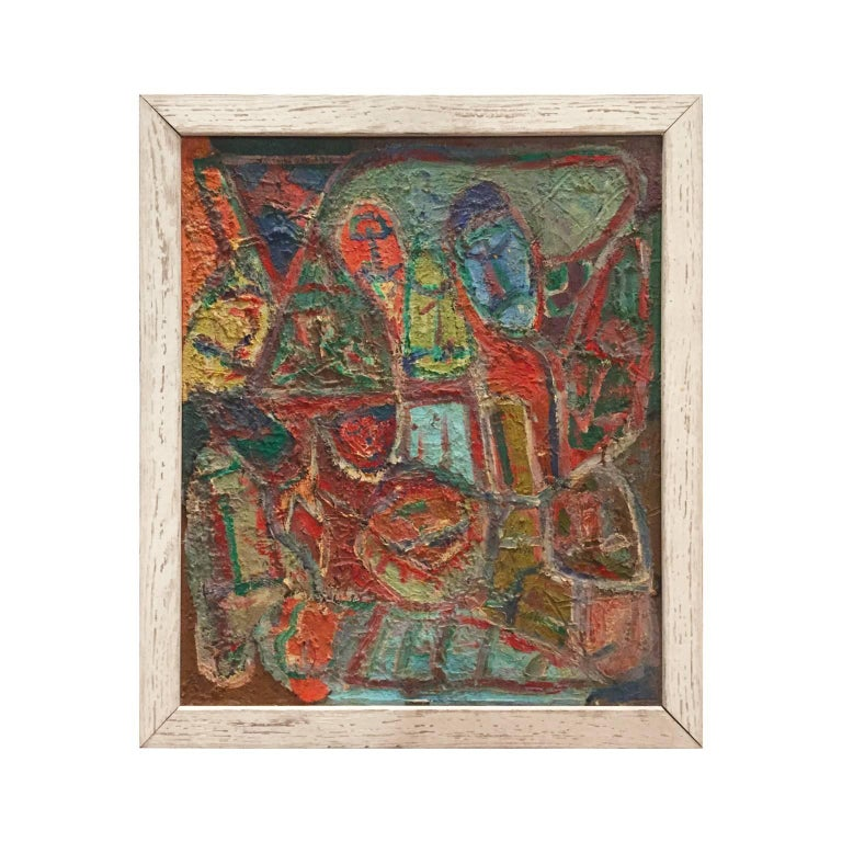 Mid-Century Colorful Figurative Abstract Painting in Reds, Blues and Greens