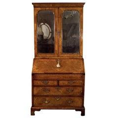 George II Walnut Slant Front Bureau Bookcase / Secretary
