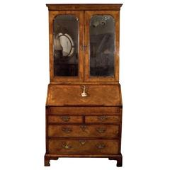 George II Walnut Secretary with Original Hand Beveled Mirror Doors