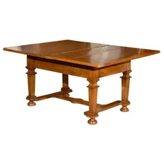 Walnut Flip-Top Dining Table with Cross Stretchers, France, circa 1720
