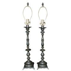 Pair of Ornate Traditional Metal Lamps