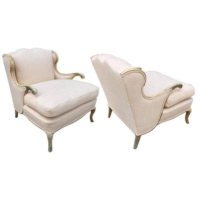 Pair of Gustavian Style Linen Lounge Chairs