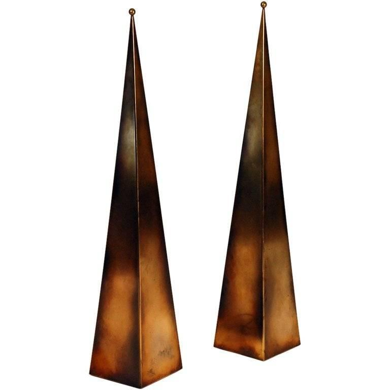 Pair of Tall 'Pyramide' Console or Floor Lamps by Design Frères