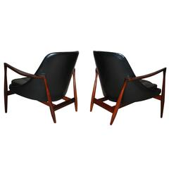 "Pair of ""Elizabeth"" Chairs and Stool in Rosewood by Ib Kofod Larsen"