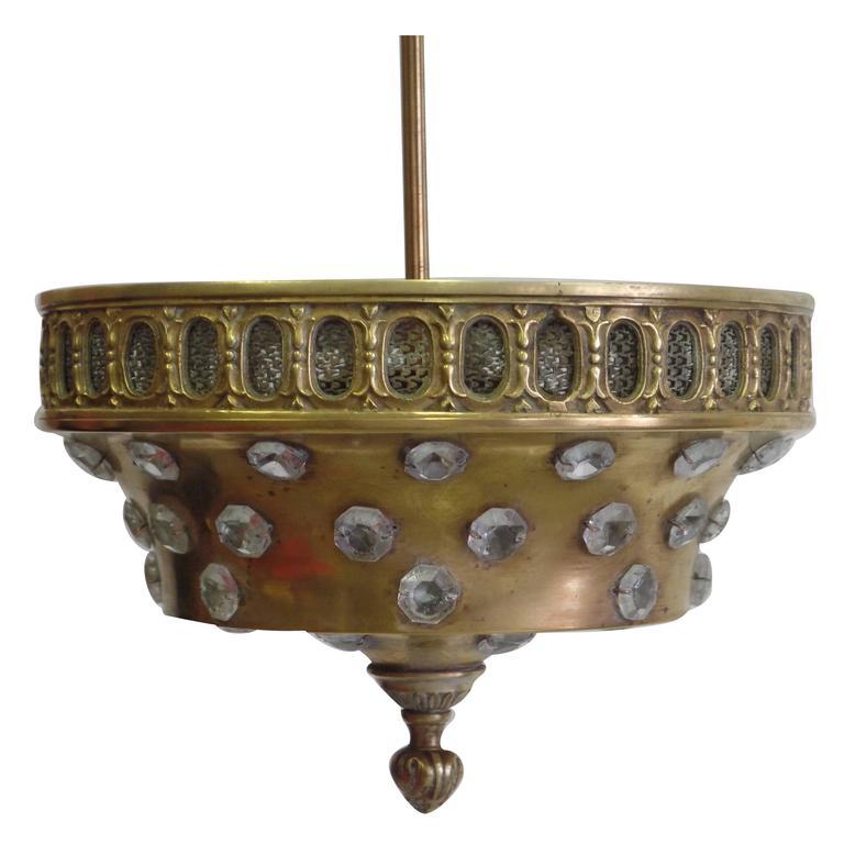 French Mid-Century Brass & Cut-Crystal Pendant / Flush Mount by Jansen, 1940