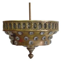 French Mid-Century Brass & Cut-Crystal Pendant / Flush Mount by Jansen, 1940