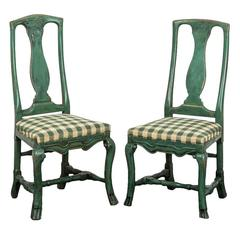 Pair of Swedish Baroque Side Chairs
