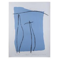 """Adja Yunkers Abstract Lithograph in Colors """"Pueblo"""""""