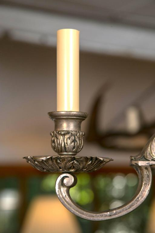 Silver Plated, Cast Bronze Chandelier In Good Condition For Sale In Woodbury, CT