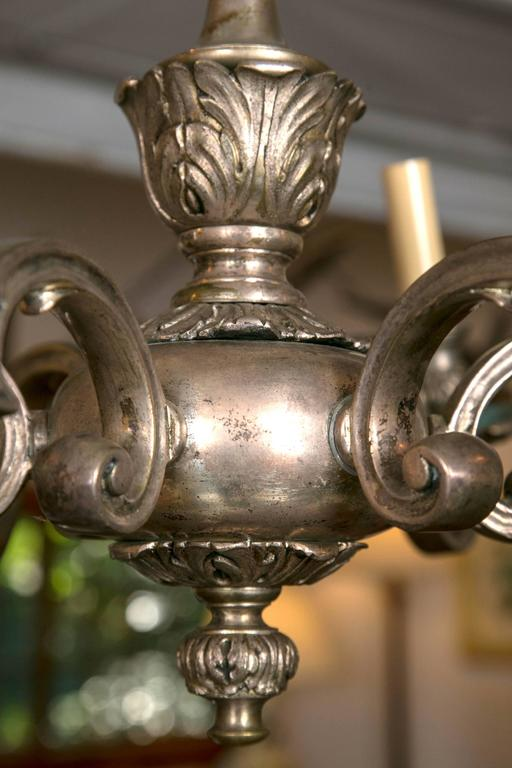 Silver Plated, Cast Bronze Chandelier For Sale 2