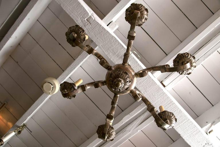 Silver Plated, Cast Bronze Chandelier For Sale 1