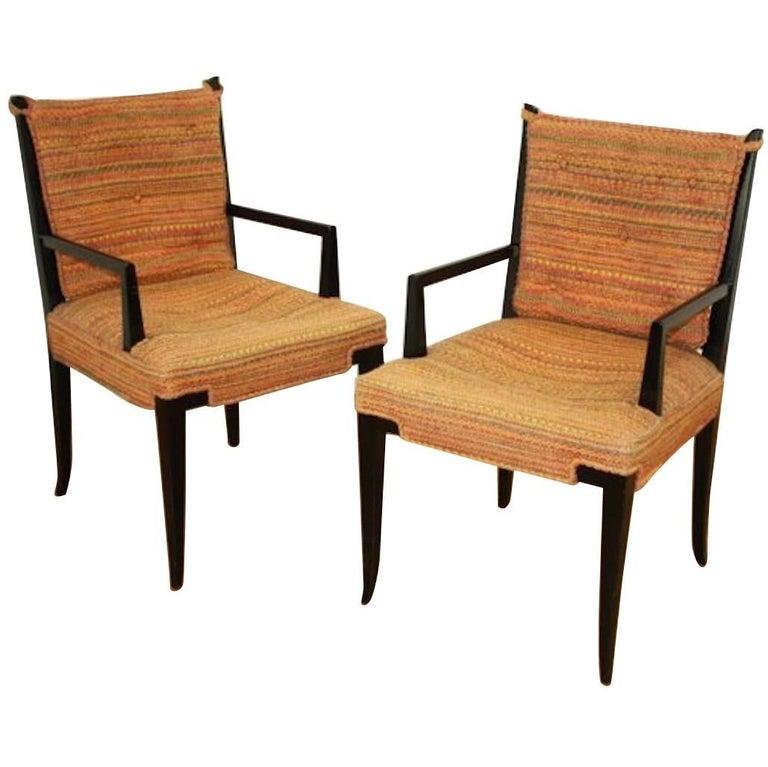 "Pair of Original Tommi Parzinger Double ""X"" Armchairs"