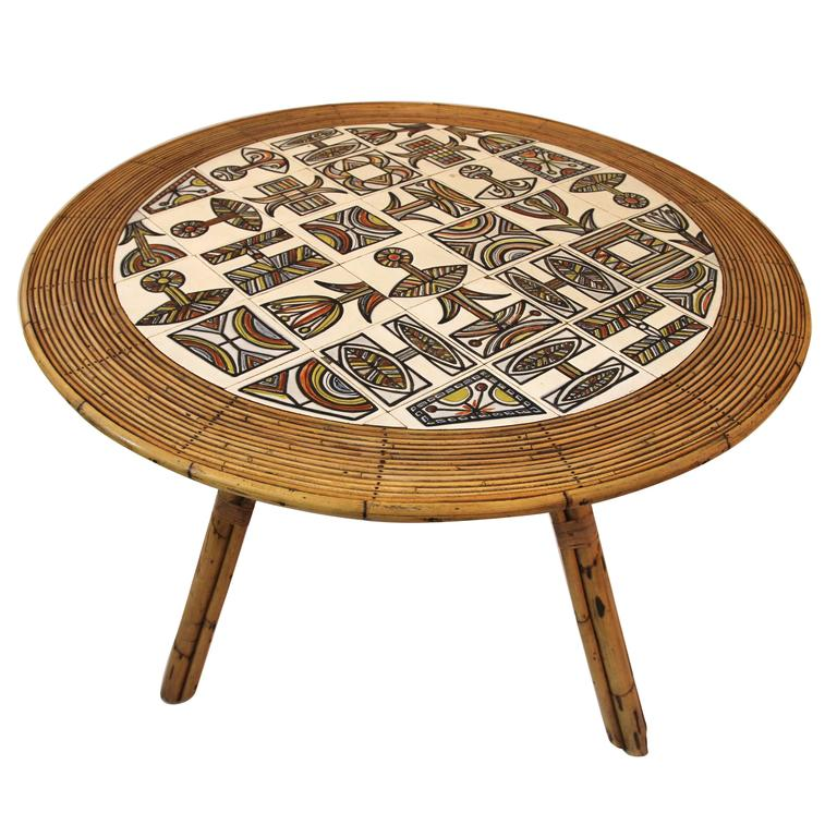 Audoux-Minet Table with Ceramic Top by Roger Capron, circa 1960 France