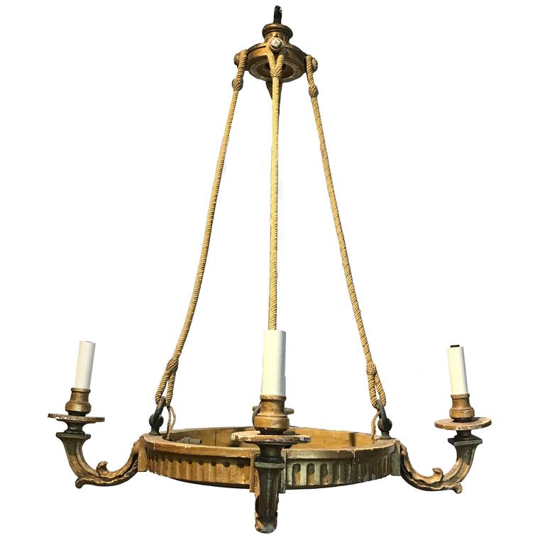 19th Century, French Four-Arm Giltwood Chandelier with Rope For Sale