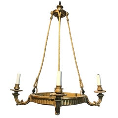 19th Century, French Four-Arm Giltwood Chandelier with Rope