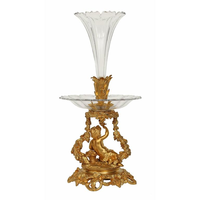 French 19th century Belle Époque Period Baccarat crystal and ormolu centerpiece For Sale