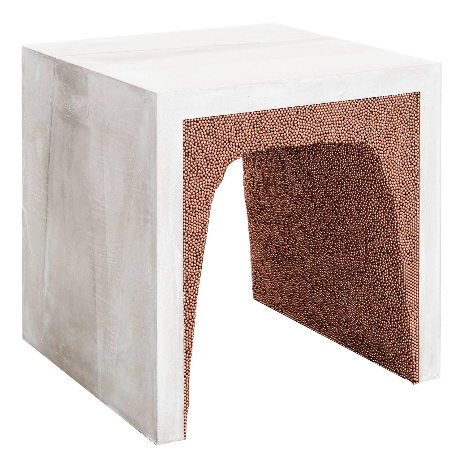 White Cement and Crystal Quartz Drum Coffee Table For Sale at 1stdibs