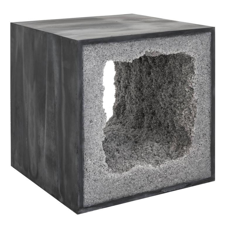 Black Cement and Rock Salt Table by Fernando Mastrangelo